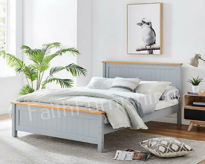 £179 • Buy Solid Pine Grey Or White Wooden Bed Frame - Single Double King Size Bedroom UK