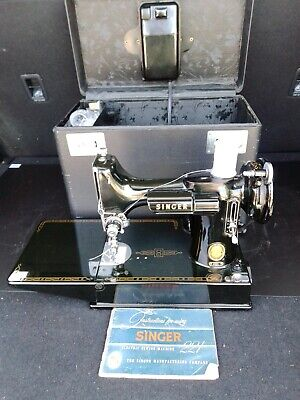 $260 • Buy 1950s Singer Featherweight? 221 Black Vintage Portable Sewing Machine - Antique