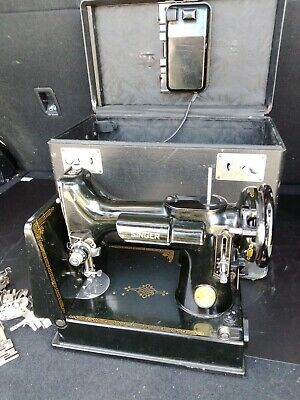 $250 • Buy 1950s Singer Featherweight? Black Vintage Portable Sewing Machine - Antique