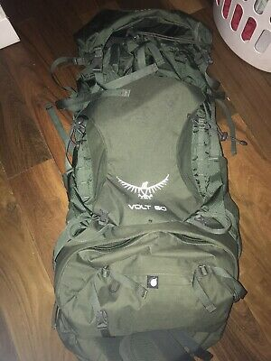 $125 • Buy Used Twice Osprey Volt 60 Hiking Backpack. Camping Climbing Pack Conifer Green