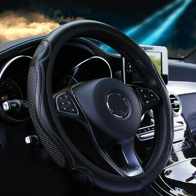 AU18.55 • Buy 1x Auto Car Steering Wheel Cover Black Leather Breathable Anti-slip For 37-38CM