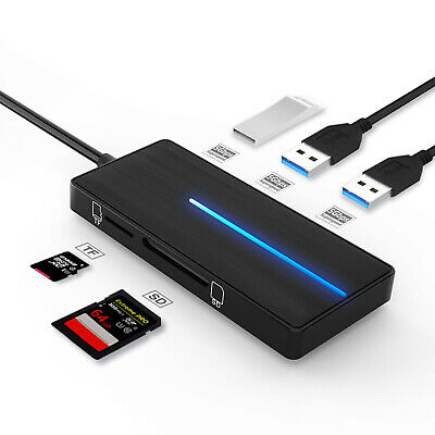 AU17.99 • Buy USB 3.0 Ultra Slim Data Hub 4 Ports Adapter Charger TF SD Card Reader For PC Mac