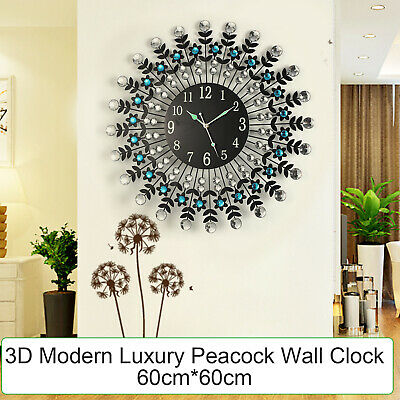 AU35.99 • Buy 3D Modern Luxury Peacock Wall Clock Silent Battery Operated Home Room Office