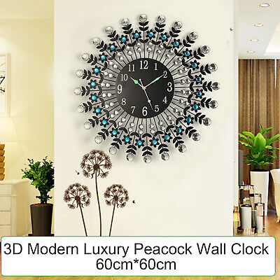 AU49.99 • Buy Large Modern 3D Crystal Wall Clock Luxury Black Glass Round Dial Home Office Dec