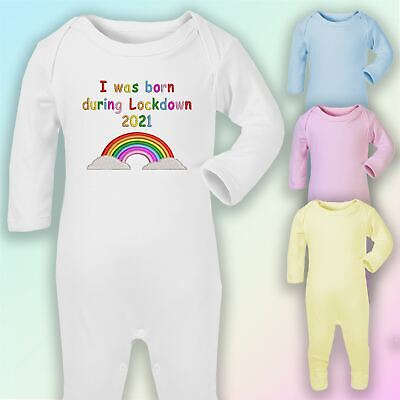 I Was Born In Lockdown Embroidered Baby Romper Babygrow Gift Unisex • 8.75£