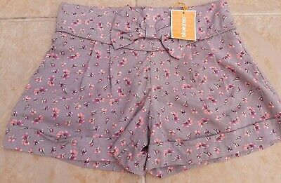 🌺🌸BNWT BLUEZOO Girls Age 7 Grey Bow Shorts Zip Back Floral Ditsy 🌺🌸 • 6.99£