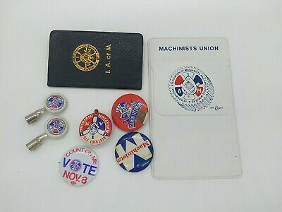 $30 • Buy Lot IAM MACHINISTS Union Chotskies Buttons Pins Pocket Protector Dues Book