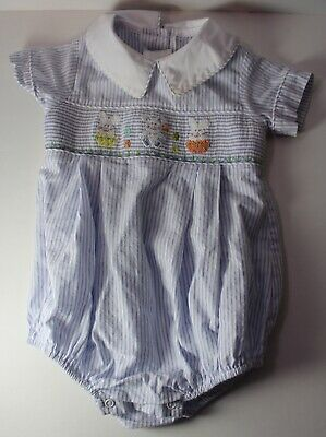 $20 • Buy Zuccini Baby 9 Months EASTER Bunny Eggs Smocked Romper