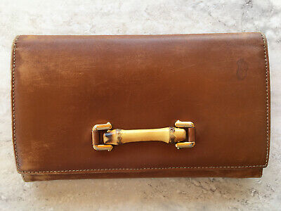 $44.99 • Buy Vintage Gucci Bamboo Long Wallet Caramel Leather