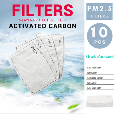 AU6.95 • Buy 10 PCS PM2.5 P2 Face Mask Filter Activated Carbon Breathing Filters Adult