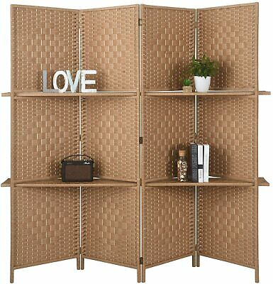$149.99 • Buy Folding Woven Bamboo Room Divider 4 Panel Privacy Partition Screen Display Shelf