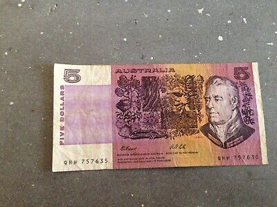 AU17.99 • Buy 5 Five Dollar Australian Banknote Note Cole Fraser Q Series Plate Letter M