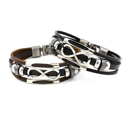 Men Ladies Genuine Leather Bracelet Infinity With Spacers & Antique Style Clasp  • 3.99£