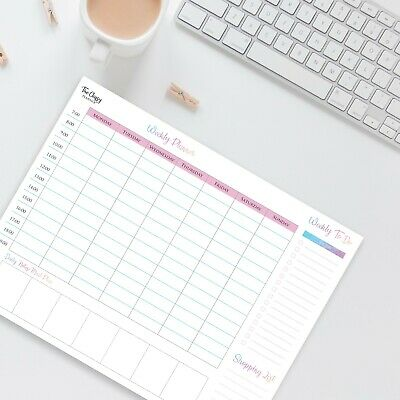 Weekly Desk Planner Pad With To Do List Shopping List & Meal Planner Section • 9.95£