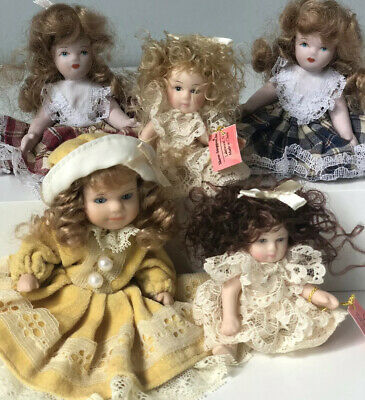 "$ CDN33.83 • Buy Lot Of 5 Porcelain Miniature Dolls 3"" And 4"" Tall"