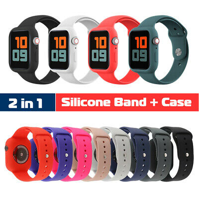 $ CDN6.29 • Buy 40/44mm Silicone Sport Band Strap+Protect Case For Apple Watch Series 6 5 4 3 SE