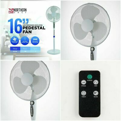 £32.95 • Buy 16  Electric Oscillating Pedestal Air Cooling Fan With Remote Control Standing