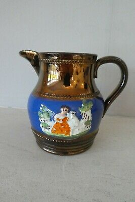 Victorian Copper Lustre Jug - Hand Painted 9.5 Cms • 4.99£