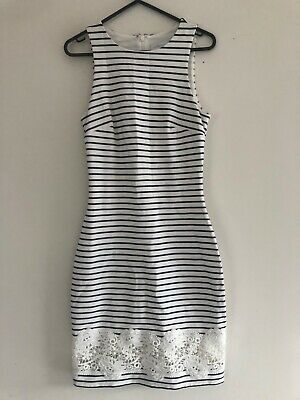 AU8.50 • Buy Forever New Stunning Stripped White & Navy Dress Size6