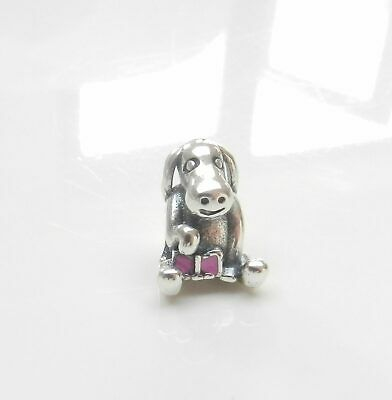 Cute Silver Dog Puppy Charm Floppy Ears With Pink Bow Genuine 925 Silver GENU... • 4.99£