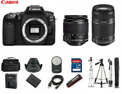 AU2572.70 • Buy NEW Canon 90D Digital DSLR Camera With 18-55mm And 55-250mm + Tripod