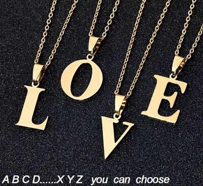 £4.49 • Buy Gold Stainless Steel Initial Letter A To Z Pendant Necklace Alphabet Uk Seller