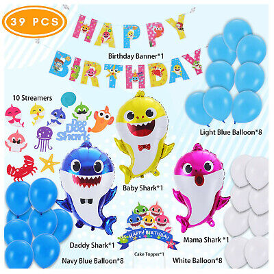 $14.99 • Buy Baby Shark Party Supplies - Baby Shark Birthday Decorations - 39 Pieces