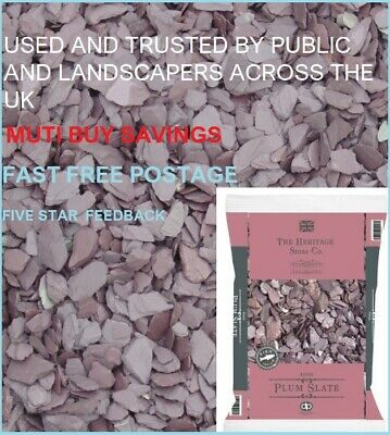 £12.49 • Buy Large Plum Slate Decorative Chippings Driveways Landscaping Aggregate 20kg Fast