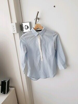AU4.98 • Buy Zara Blue And White Button Up Shirt Womens Size S