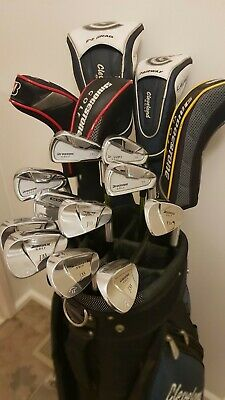 AU0.99 • Buy Golf Clubs (incl. Cleveland Driver & Wood, Bridgestone J33 Irons), Bag And Buggy
