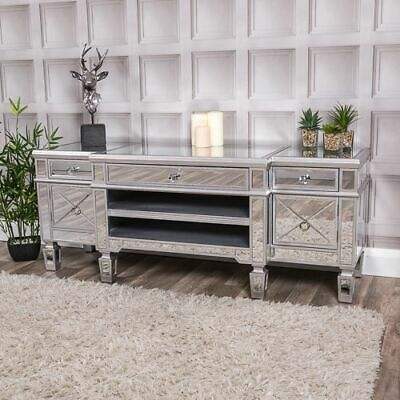 Large Mirrored Silver Television Stand TV Unit Furniture Glass Cabinet Home Chic • 429.95£