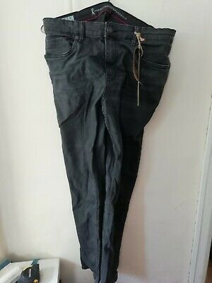 Premium Ringspun Denim Jeans OBERON Skinny Fit Washed Black 36W 30L BNWT • 14.95£
