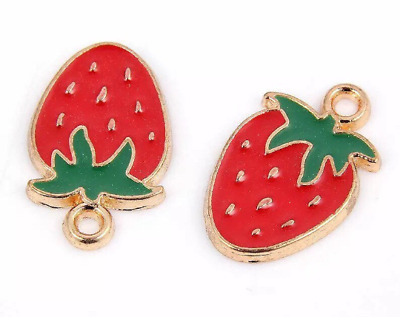 £2.85 • Buy Strawberry Charm X 4,  Enamel And Gold Plated Fruit Charm, 18mm Strawberry Charm