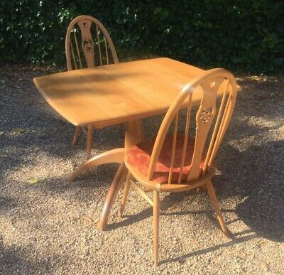 Vintage 1992 Ercol Light Oak Extendable Dining Table & Chairs • 595£