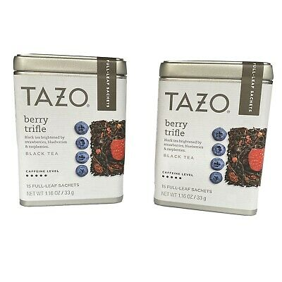 LOT Of TWO 2 TAZO Berry Trifle Black Tea Strawberries Discontinued • 22.03£