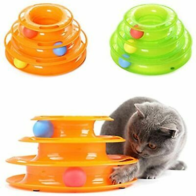 AU17.95 • Buy Funny Cat Toy 3 Levels Plastic Tower Cat Toy Track Ball Pet Playing Game