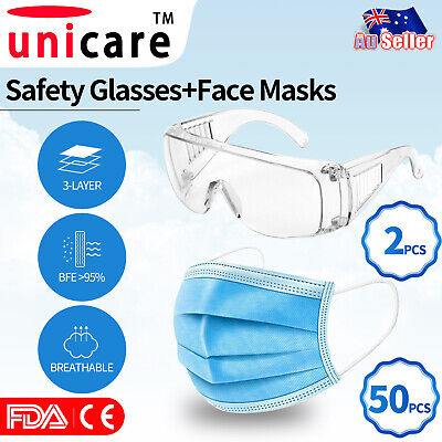 AU24.90 • Buy 50x Level 3 PLY Disposable Face Masks + 20x N95 KN95 Masks Respirator Anti Flu
