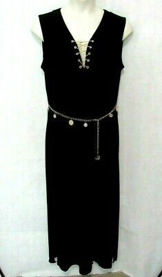 $22.48 • Buy SOHO Apparel Ltd Womens XL Maxi Black Dress Gypsy Coin Belt Chain Lace Up V Neck