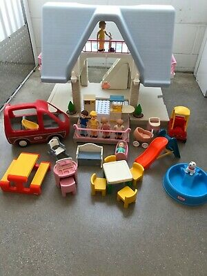 $198.95 • Buy VTG Little Tikes Doll House W/ Blue Roof Huge Lot: Family,Car,Accessories & More
