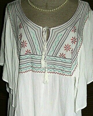 $9.88 • Buy SIZE LARGE~Peasant Embroidered Bohemian Boho S/S Tunic Top~ONE CLOTHING L.A.