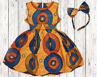 Girls African Print Kente Dress, From Size 0 Months - 14 Years • 33£
