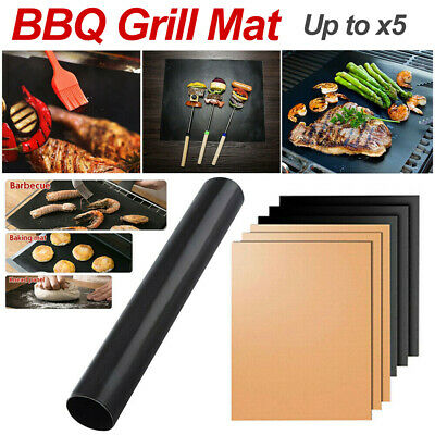 AU11.99 • Buy BBQ Grill Mat Reusable Bake Sheet Resistant Teflon Meat Barbecue Non-Stick Party