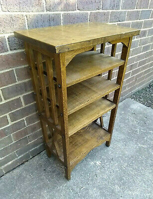 $499.99 • Buy Antique Vintage Arts And Crafts Mission Oak Book Magazine Shelf Stand Bookcase