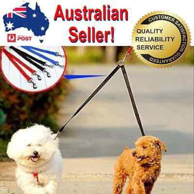 AU15.99 • Buy Pet 2 Way  Dog Lead Double Leash Splitter With Clips Collar Harness