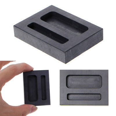 Graphite Crucible Ingot Two Mold Silver Hole Loaf Bar Metal Melting Casting Q • 4.94£