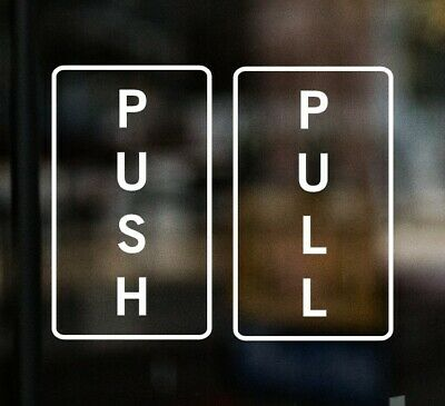 £3.50 • Buy PULL PUSH Door Stickers Shop Sign Window Glass Cafe Pub Fish & Chip Shop Vinyl