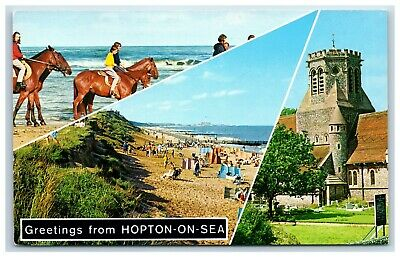 Postcard Hopton On Sea Norfolk 3 Views • 2.25£