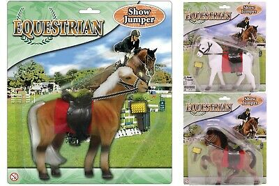 Equestrian - Flocked Horse Figure 17cm With Accessories Kids Toys Playtime Toy • 8.99£