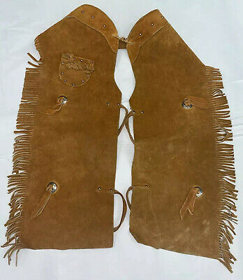 $34.99 • Buy Vintage Cowboy Chaps, Child's Or Youth. Leather With Pocket.