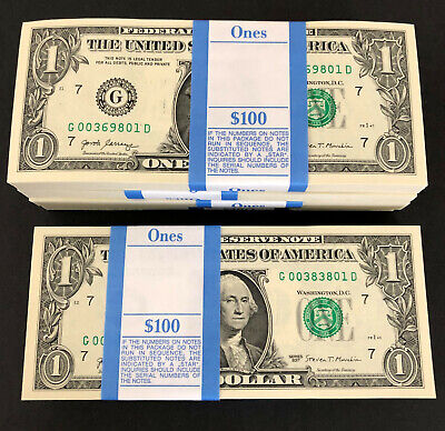 $134.44 • Buy 100 One Dollar Bills NEW Money $1 Notes G/D Pack Strap 2017 Chicago G Mint Stack